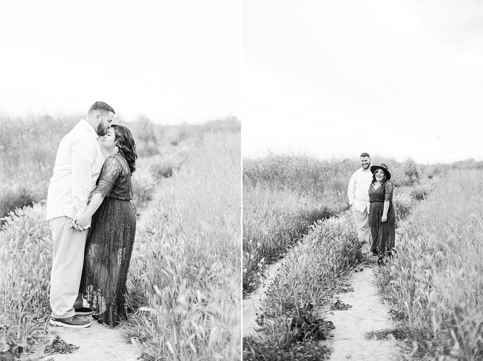 black and white photos of the couple sharing an intimate moment. Brian is kissing Maddy's forehead and a second photo of her leading him down a path by the hand during their Ellwood Bluffs engagement session