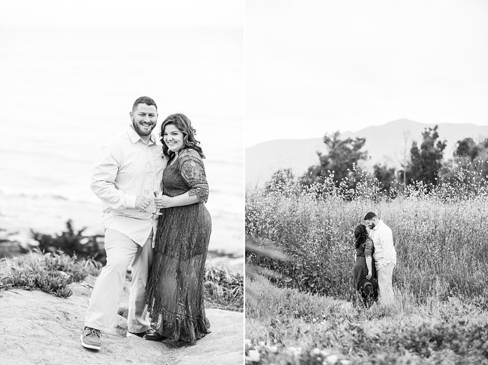 Black and white images of the couple smiling at the camera with the ocean behind them, and a second photo of the couple sharing a kiss with the mountains in the background