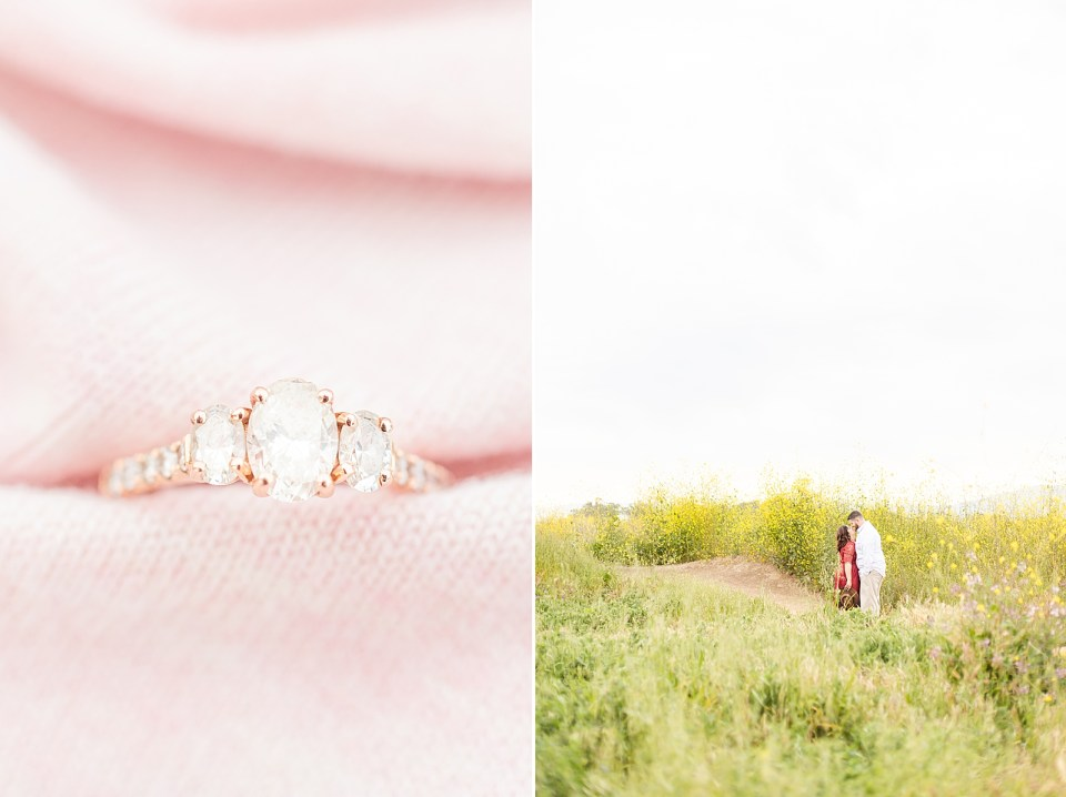 A close up of Maddy's engagement ring with a pink background and the couple sharing a moment on a path between fields of yellow flowers.