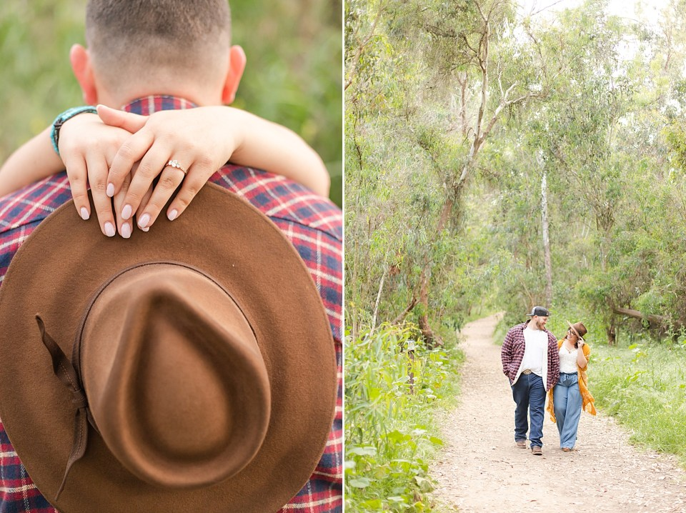 Maddy's hands wrapped around Brian's neck holding her fedora. And a second photo of the couple holding hands and walking down a path lined with eucalyptus trees.