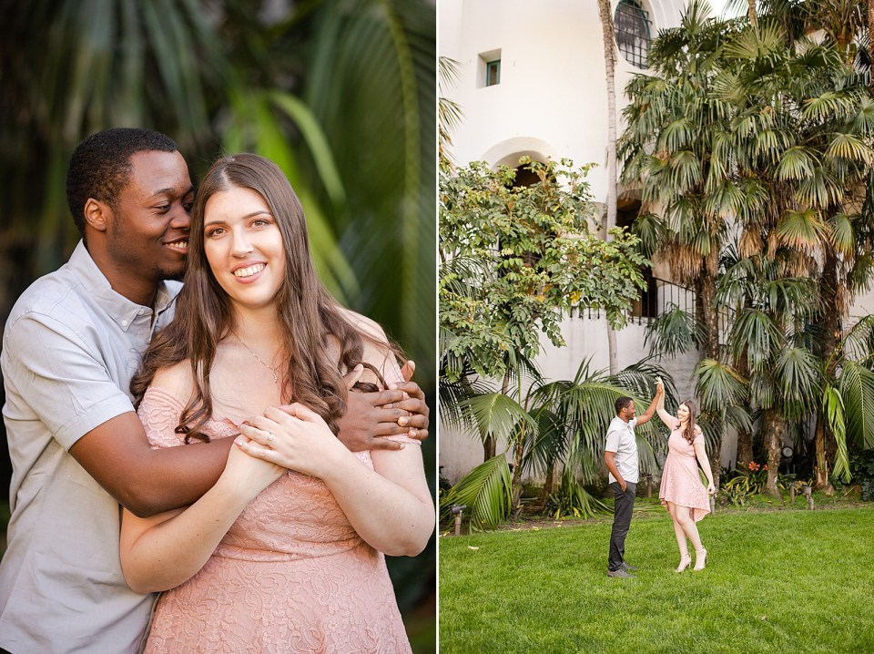 Sarah smiling at the camera and Myles smiling at her. A second photo of Myles smiling at his fiancé as he twirls her.