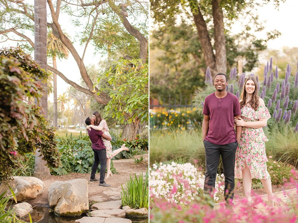 Myles lifting Sarah in the air as they share a kiss. A second photo of the couple smiling at the camera with Sarah slightly behind Myles while holding onto his arm with white, purple, and pink flowers around them.
