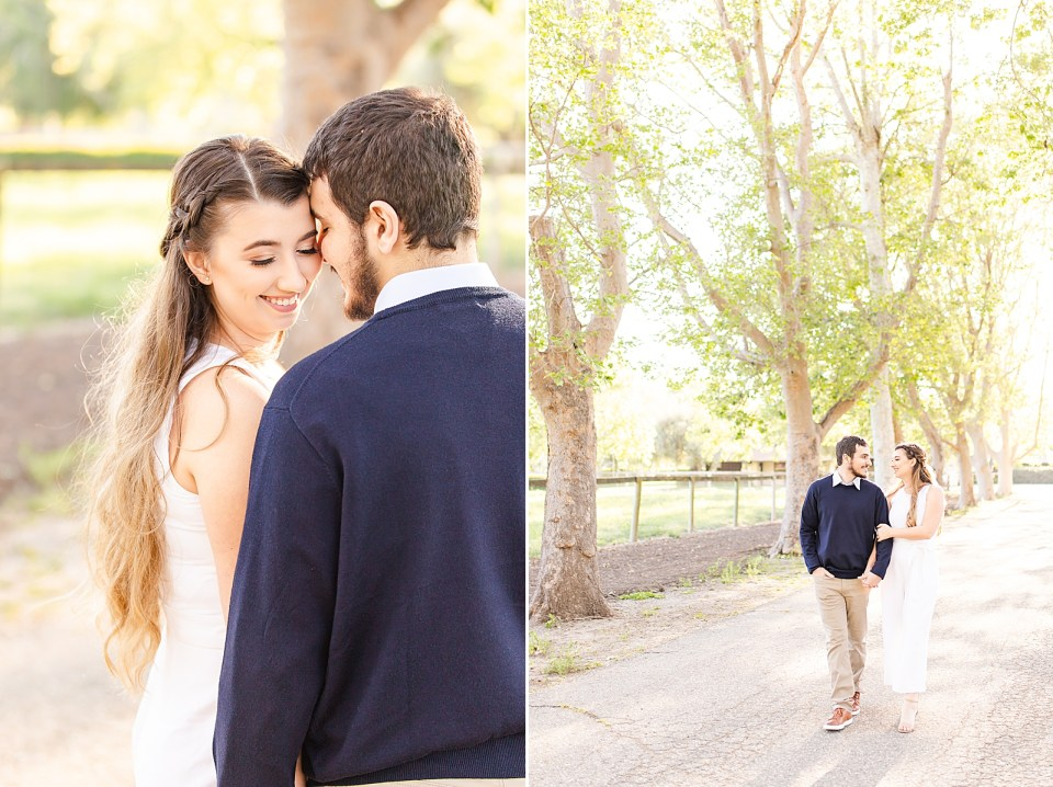 A photo of Joey smiling at his fiancé and Sofia looking over Joeys shoulder at the camera. A second photo of the couple walking down Sycamore Lane while holding hands.