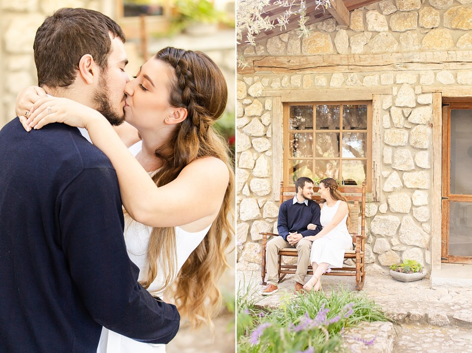 Sofia & Joey sharing a light kiss during their Whispering Rose Ranch Engagement Session. A second photo of the couple sitting on the bench out front.