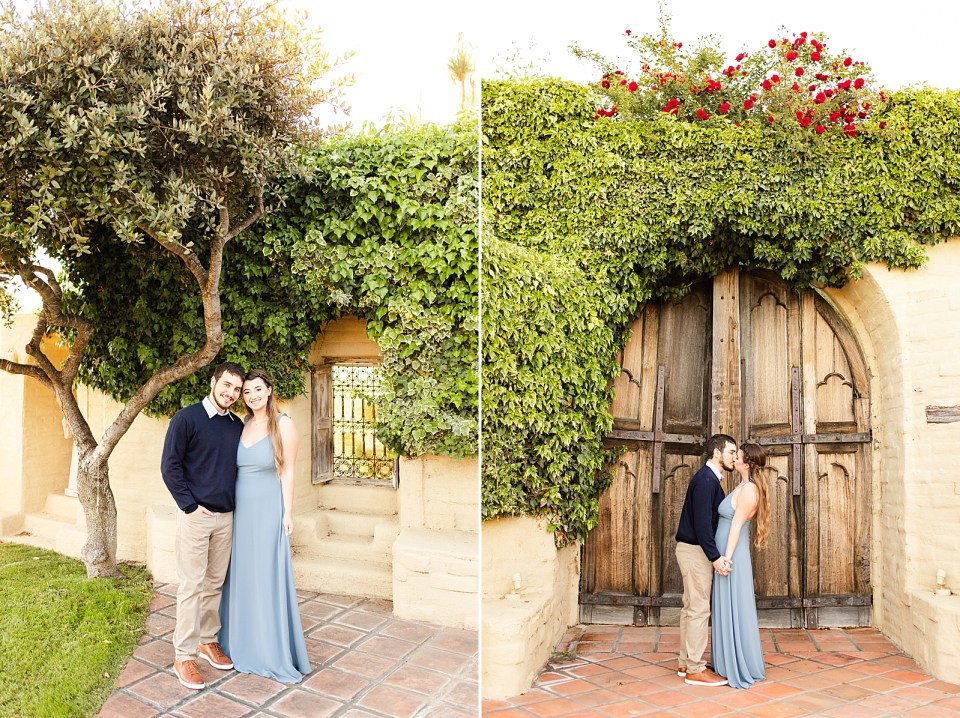 The couple smiling at the camera standing next to each other underneath a tree. A second photo of the couple standing in front of antique doors with red roses above them and the walls covered in leafy vines.