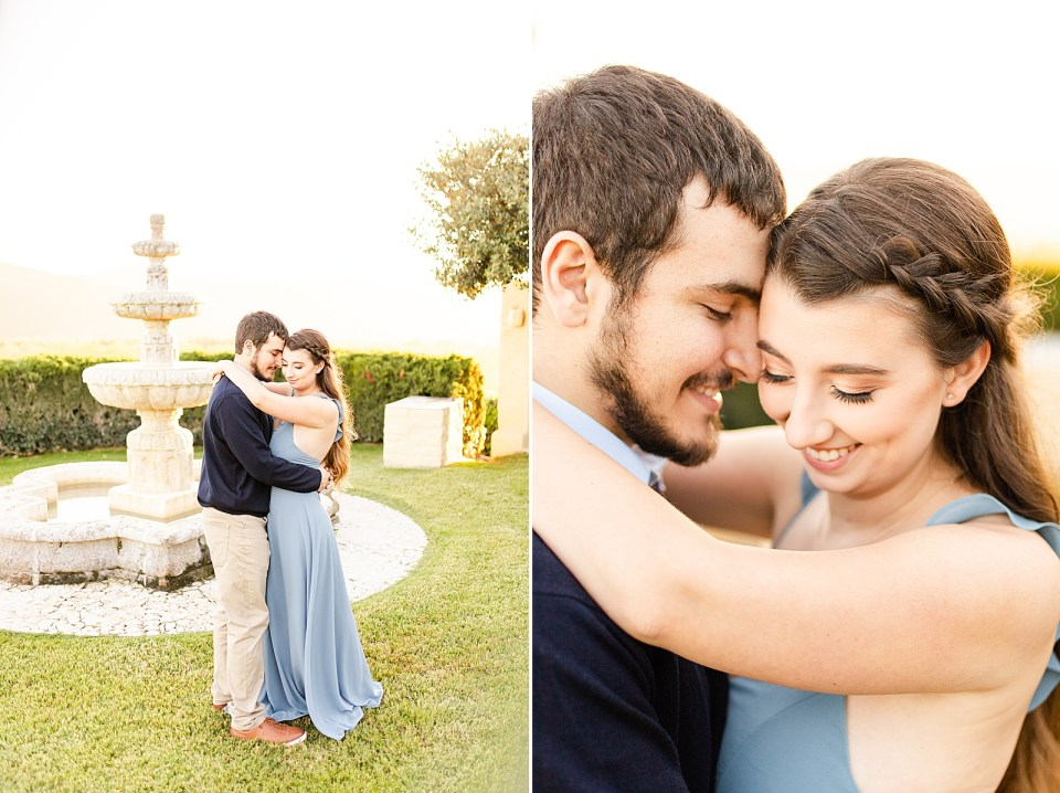 The couple standing in front of the fountain sharing an intimate moment during their Whispering Rose Ranch Engagement Session. A second photo of a close up of the couple smiling at each other.