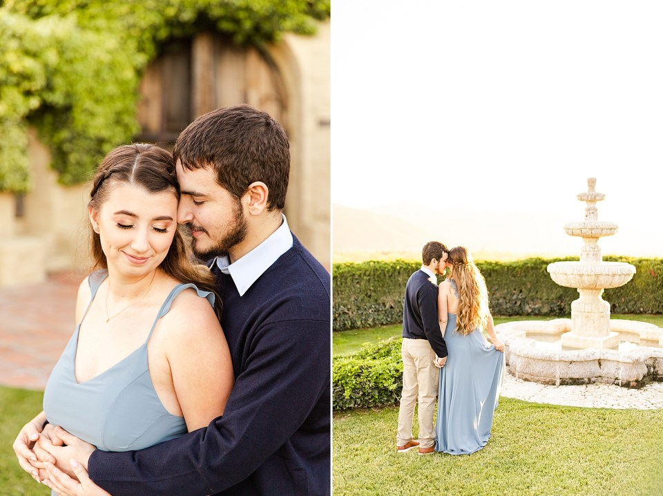 Joey hugging Sofia from behind with his hands and her hands holding each other on her stomach. A second photo of the couple holding hands with their backs to the camera enjoying the view next to the fountain.