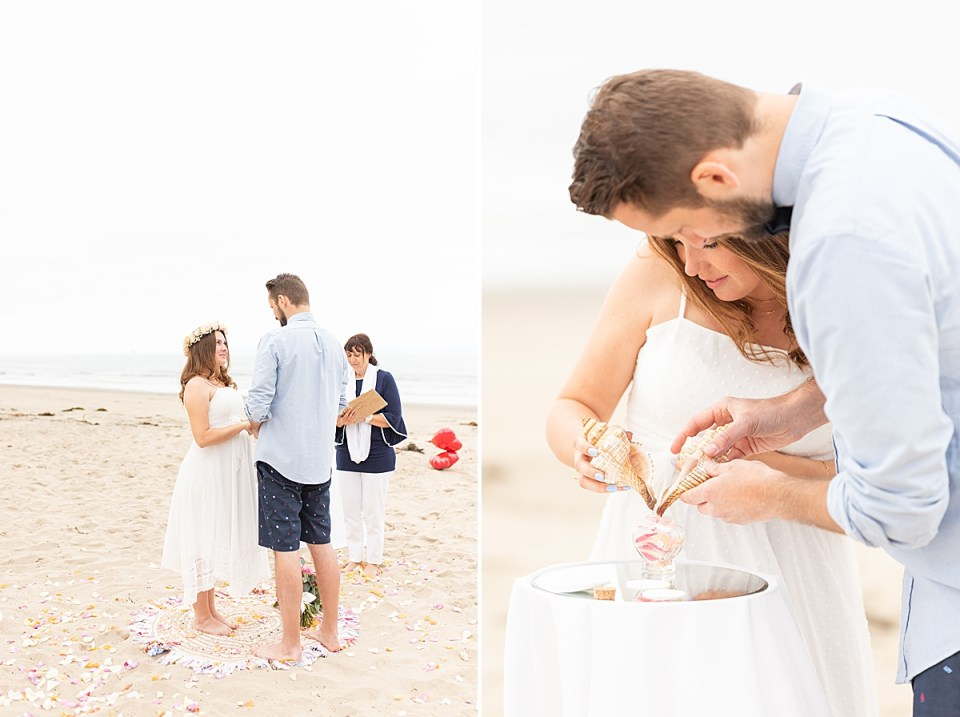 The couple holding hands during their ceremony with their officiant Ute, in the background. Second photo of the couple filling the heat shaped bottle with sand.