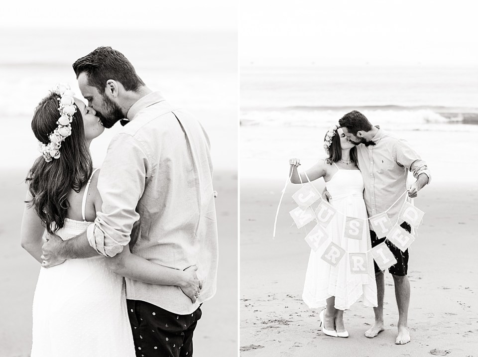 """The couple sharing a kiss with their backs to the camera and arms around each other. A second black and white photo of the couple holding a sign that reads """"just married"""""""