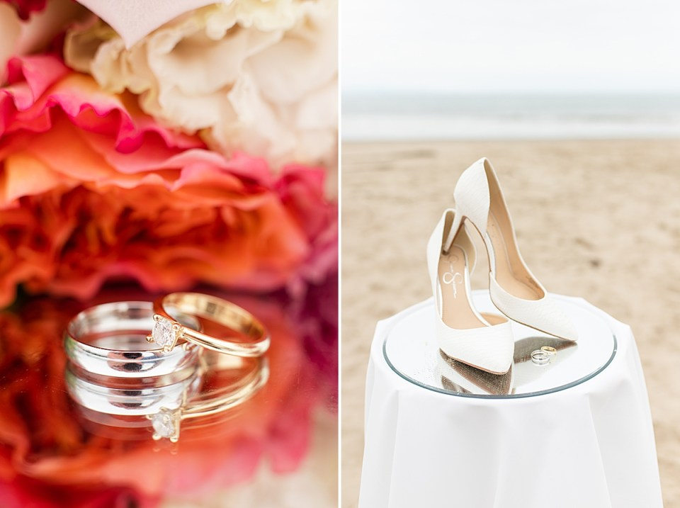 A close up of Gina & Michael's rings on a mirrored table with her bouquet of flowers in the background. And a second photo of the bride's heels and rings on a mirrored table with the sand and waves in the background.
