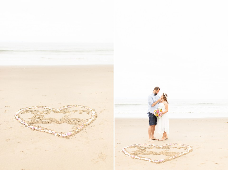 The heart drawn in the sand with flower petals along the edges. And a photo of the couple smiling at each other with the ocean waves behind them during their Santa Claus Beach Elopement