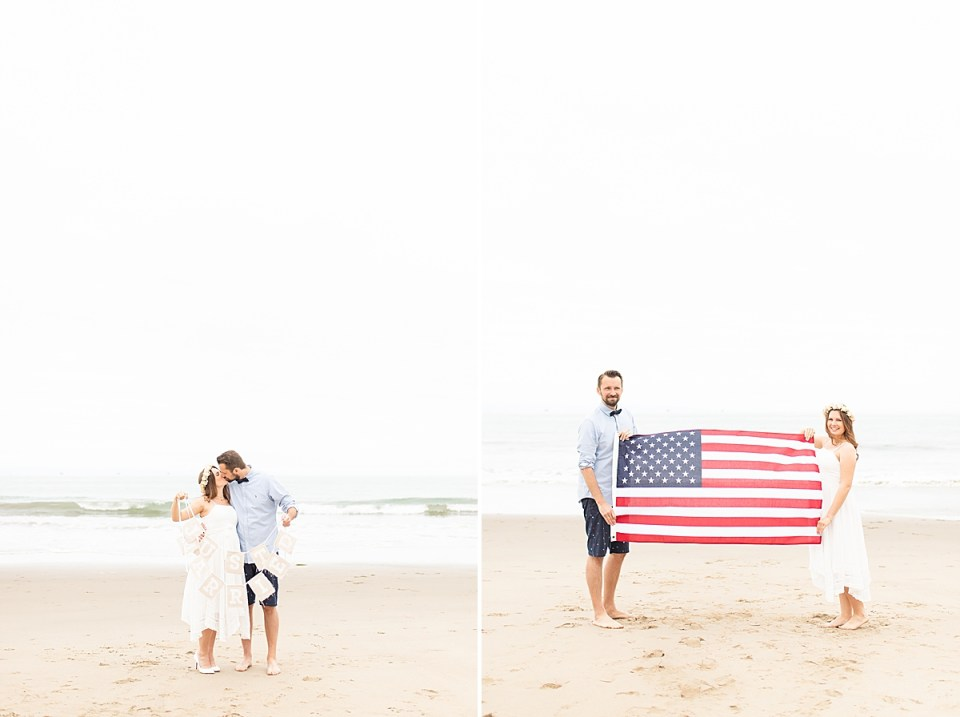 """the newlywed couple holding a sign that says """"just married"""" with the waves of the ocean behind them. And a photo of the couple holding the American flag between them while smiling at the camera."""