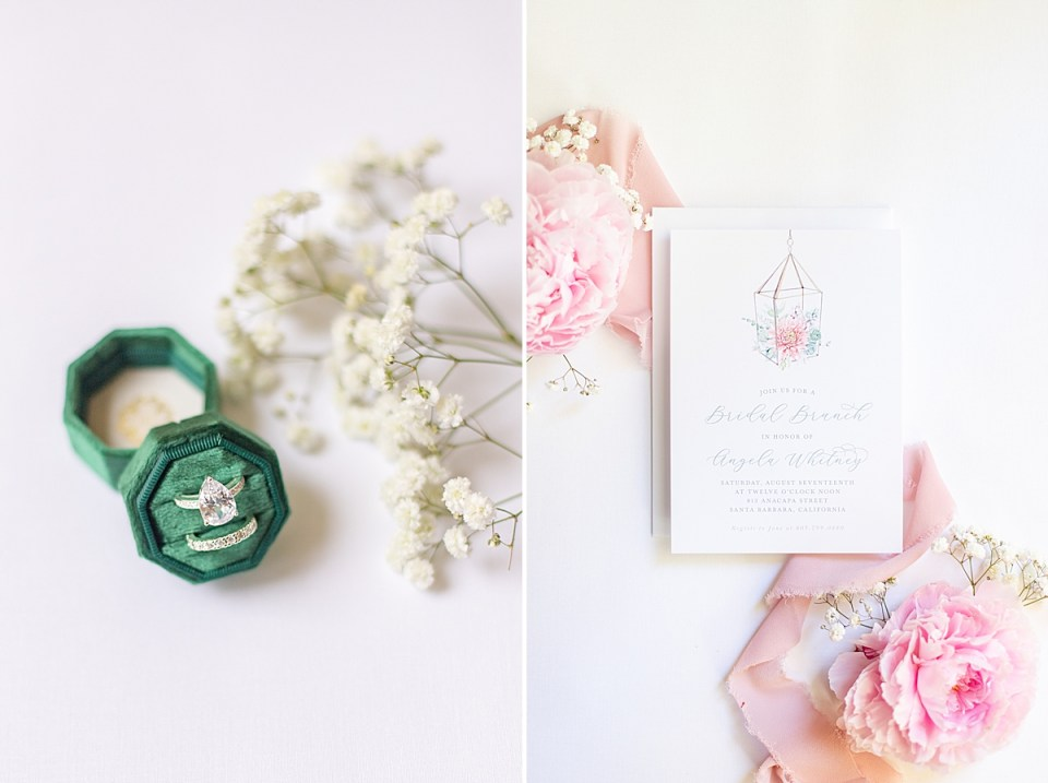The bride's rings with florals.