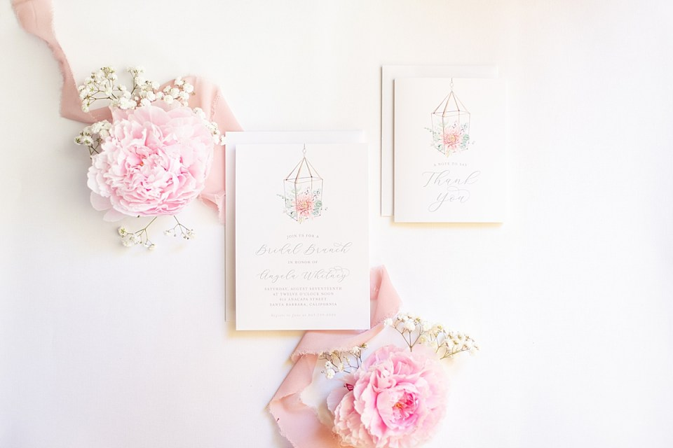 Pink Peonies and the couple's invitation suite.