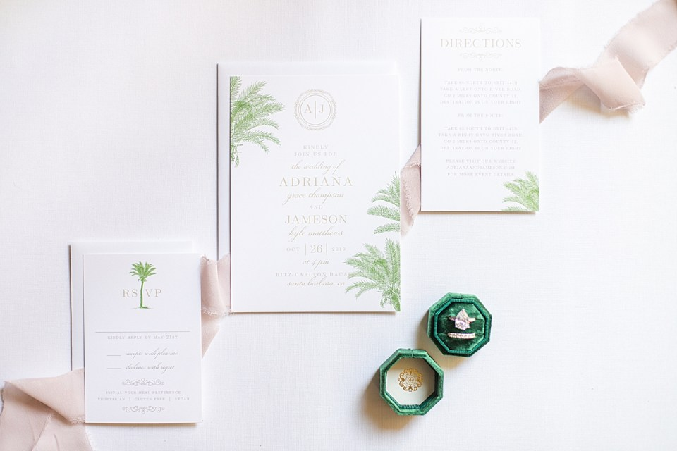 The couple's palm tree inspired bridal shower brunch invitations.