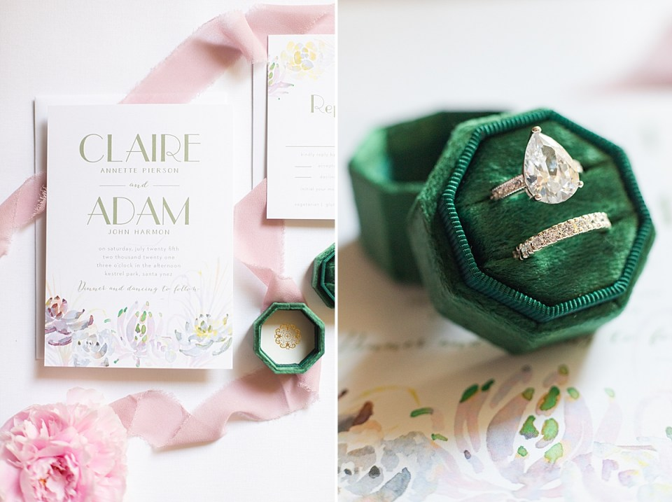 The couple's bridal shower brunch invitations and a close up of the bride's rings on her invitations.