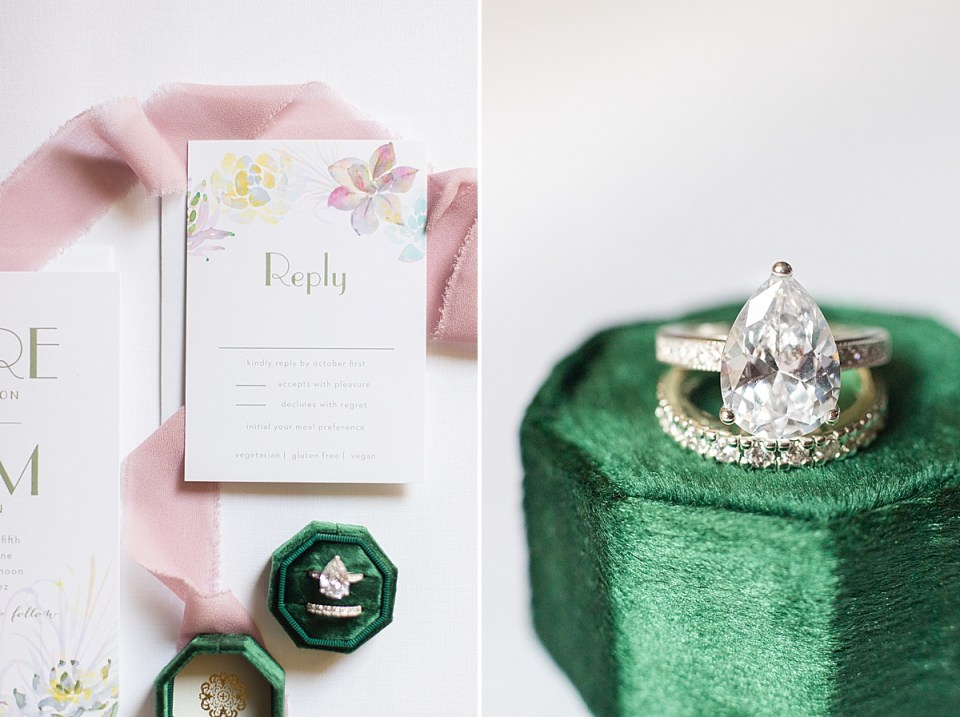 bridal shower brunch invitations next to a close up photo of the bride's rings and ring box.