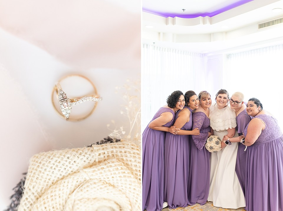 A close up of the couples rings and the groom's boutonnière. A second photo of the bride and her bridesmaids smiling at the camera.