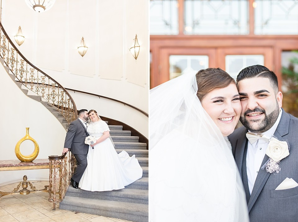 The happy couple standing close together as Michael whispers in her ear while she smiles at the camera. A second photo of the couples faces close together and smiling at the camera.