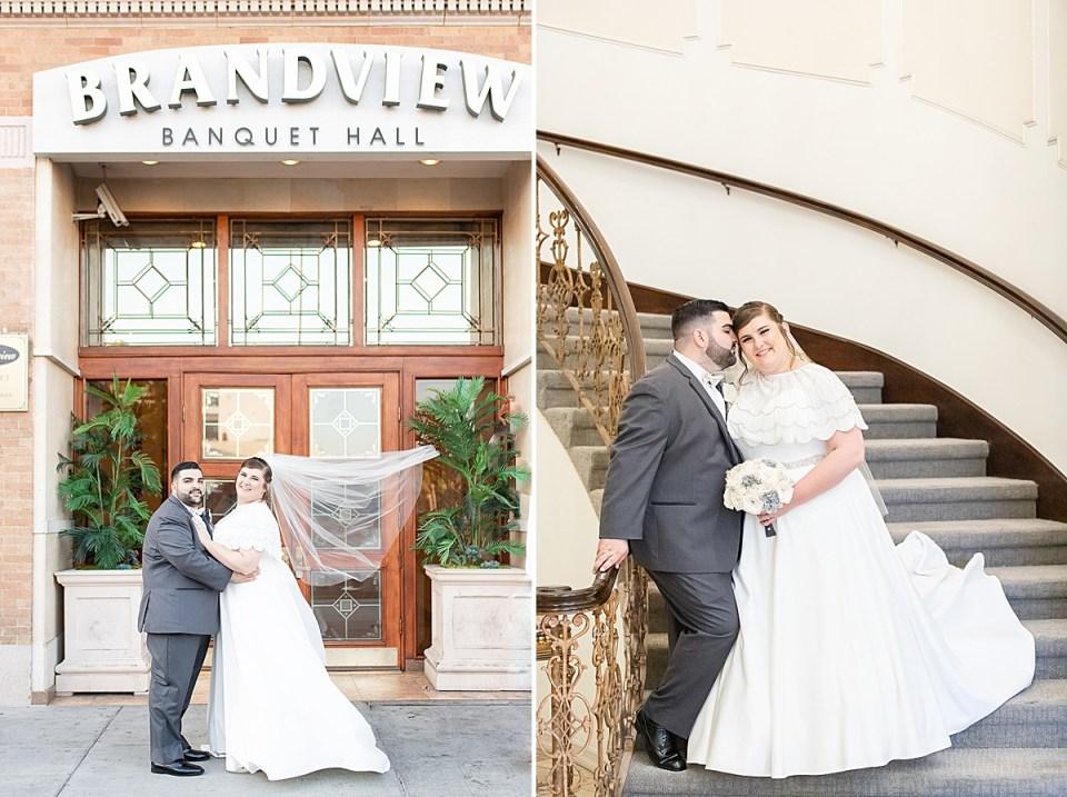 The bride & groom standing outside the Brandview Ballroom