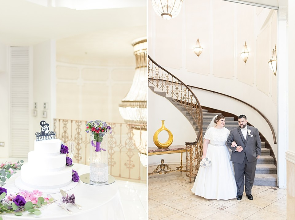 The couples wedding cake from Porto's Bakery, and the Michael escorting Betsy down the stairs towards the door.