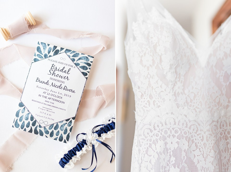 Brandi's bridal shower invitation surrounded by pink lace and her blue and white garter. A second photo of the details of Brandi's Watter's wedding dress.