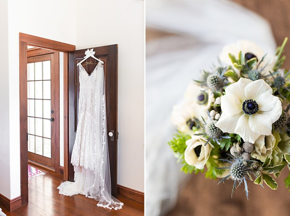 Brandi's wedding dress and veil hanging on the back of a door at her Rancho San Julian Wedding. A second image of one of Brandi's bridesmaids bouquets in a vase next to her veil
