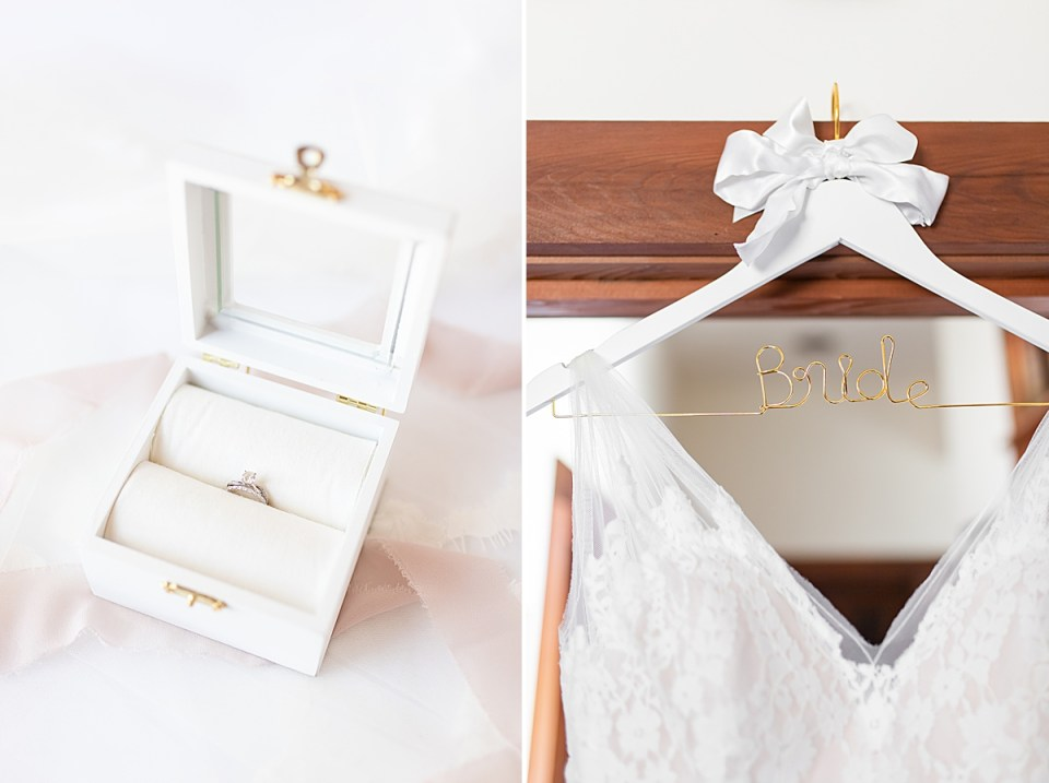 """A white box with a gold clasp with Brandi's engagement ring and wedding band inside. And a second photo of Brandi's dress and special hanger that says """"bride"""" in gold."""