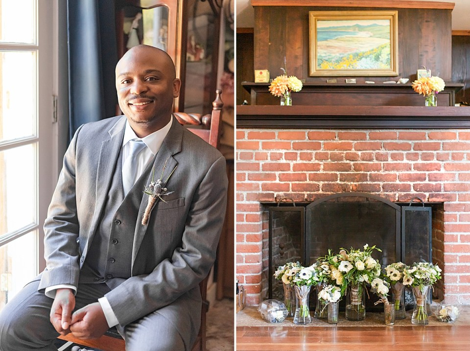 The groom sitting in a chair with his hands clasped together smiling at the camera. A second photo of the bride and her bridesmaids bouquets in front of a chimney at the bride's getting ready room.
