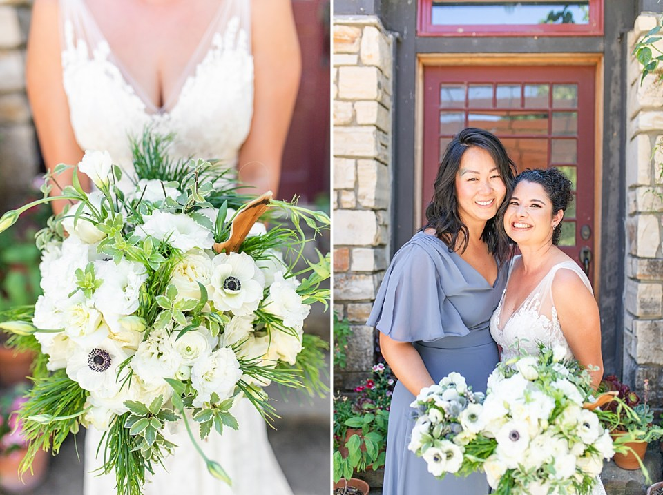 Brandi holding her bouquet and a second image of Brandi and her bridesmaid.