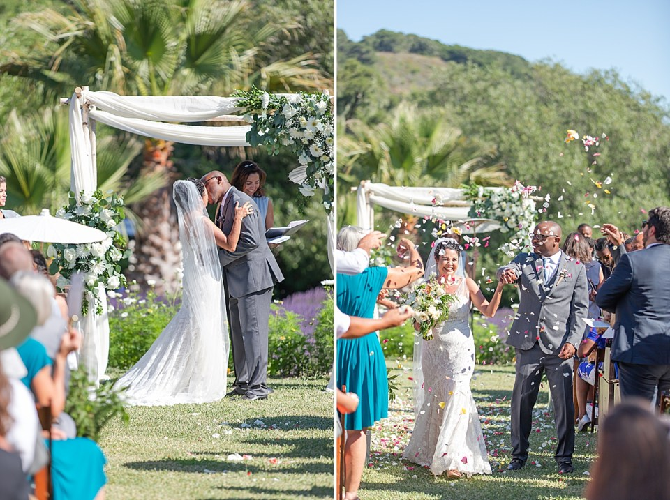 Brandi & Victor's first kiss as husband and wife at the altar, and a second image of them coming down the aisle as their families throw flower petals in the air.