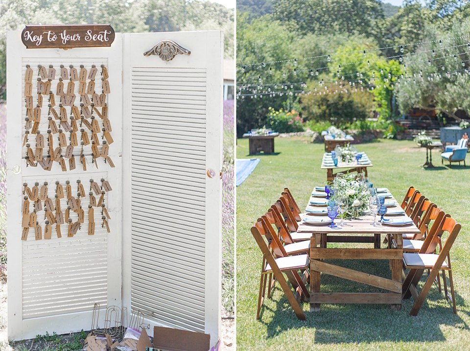 The couple passed out antique keys as wedding favors. A second image of the reception decor at the couples Rancho San Julian Wedding