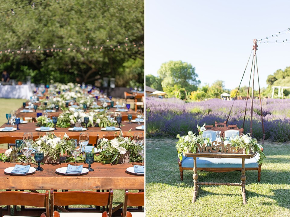 White roses and greenery on the tables at the reception. A second photo of the couples sweetheart table with the lavender fields behind it.