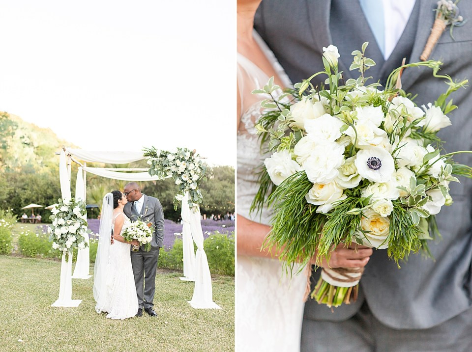 Brandi & Victor sharing a kiss in front of their altar that his mom made. A second image of Brandi's bouquet close up.