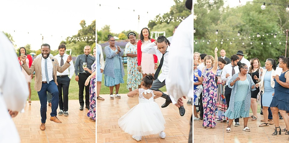 Family and friends dancing at the couples Rancho San Julian wedding