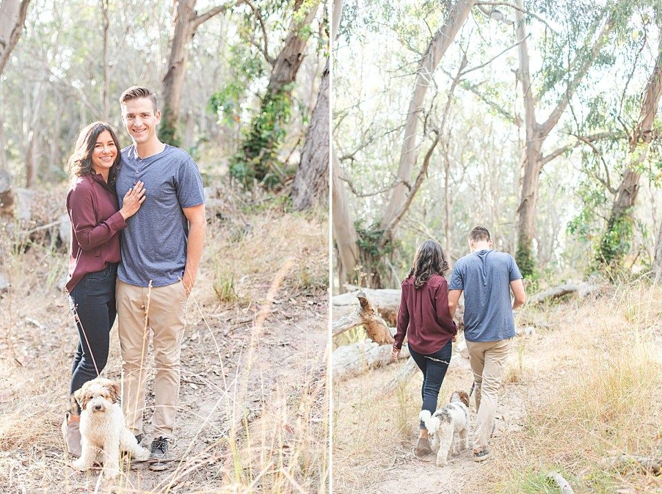The couple is smiling at the camera with their Aussiedoodle puppy, Cali sitting at their feet also looking at the camera. A second image of the three of them walking away from the camera.