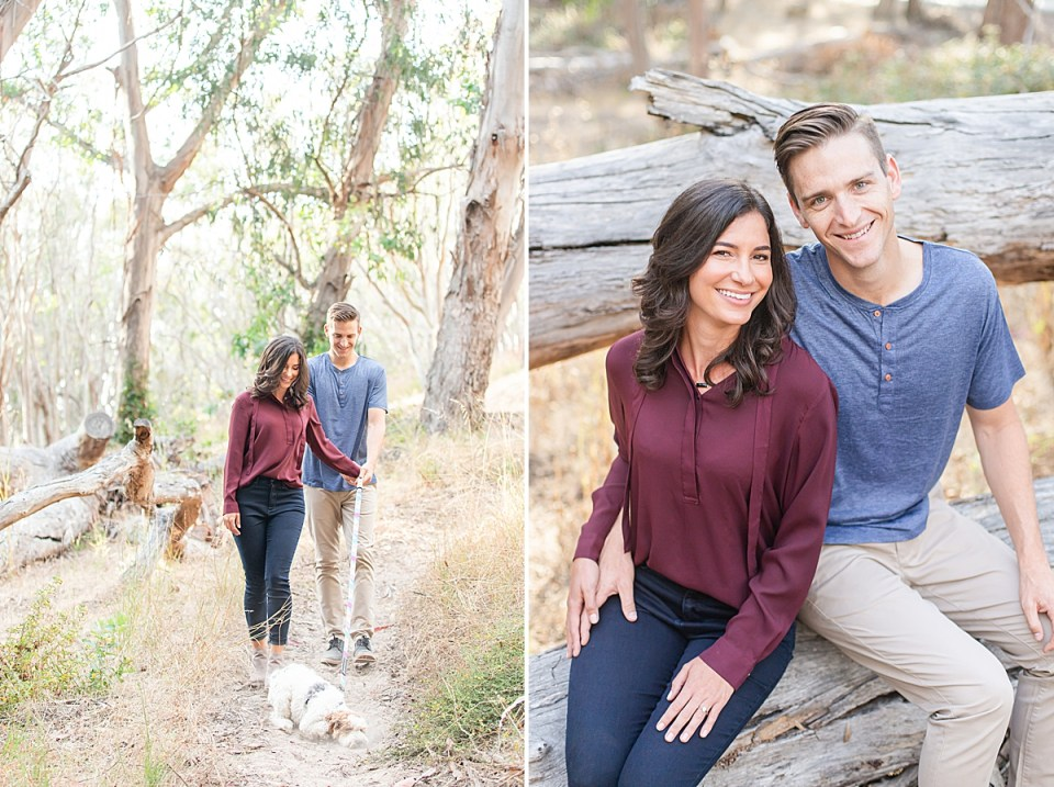 Lauren & Scott walking their puppy through eucalyptus trees, and a second photo of the couple smiling at the camera while sitting on a log.