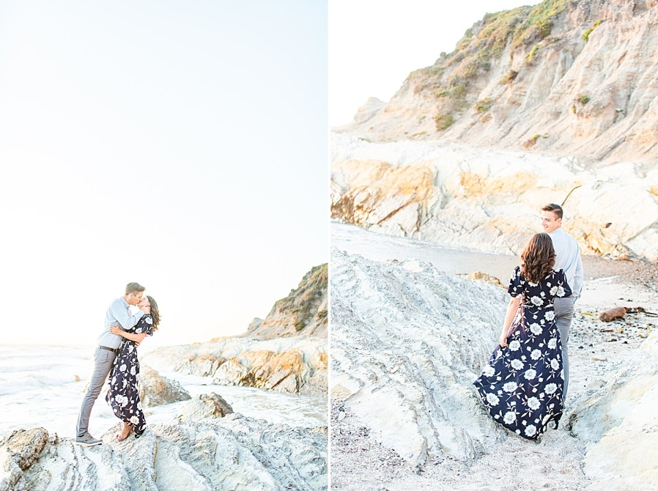 Scott and Lauren sharing a kiss and Lauren's dress flowing behind her in the wind as she's led along the beach.