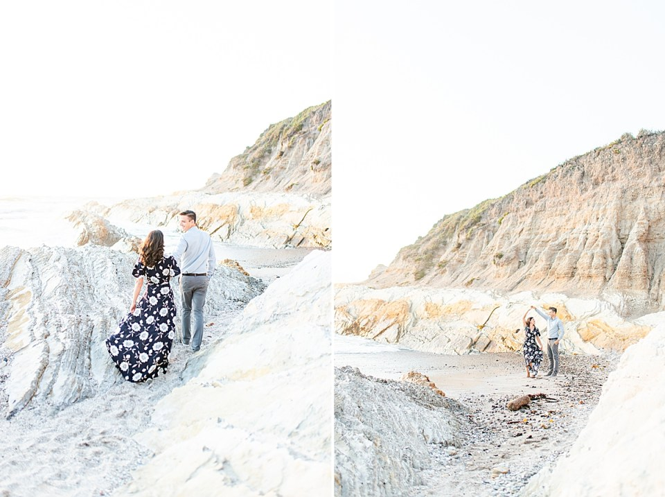 Scott leads Lauren between two large rocks on the beach and Scott twirls Lauren in a second image.