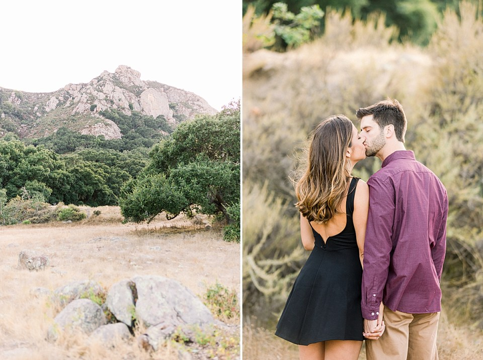 A photo of Bishop's Peak in San Luis Obispo. A second image of the couple sharing a kiss.