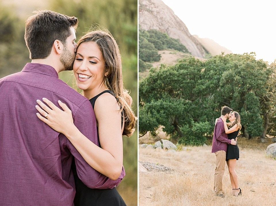 A close up of Kat laughing while Brett kisses her check. A second image of the couple sharing a kiss with oak trees and rolling hills behind them.