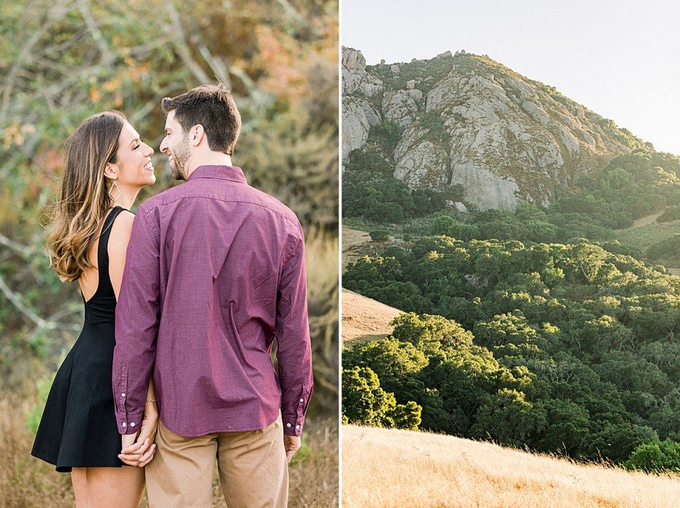 The couple smiling at each other while holding hands and standing together closely. A second image of the valley and rolling hills under Bishop's Peak in SLO, California.