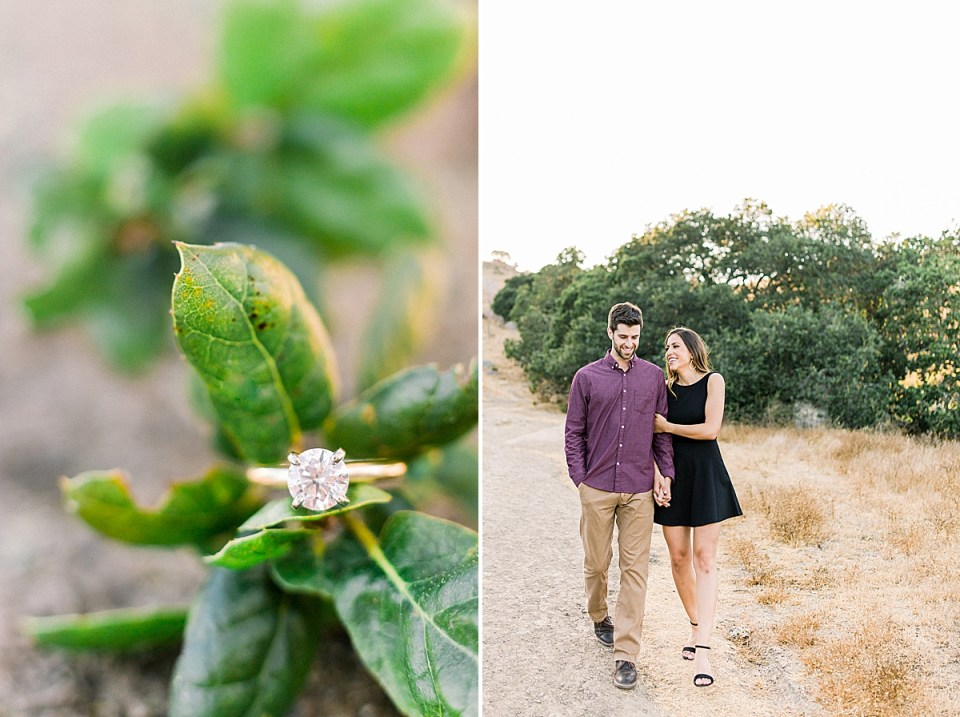 A close up of Kat's engagement ring on an oak leaf. A second image of the couple walking towards the camera holding hands.