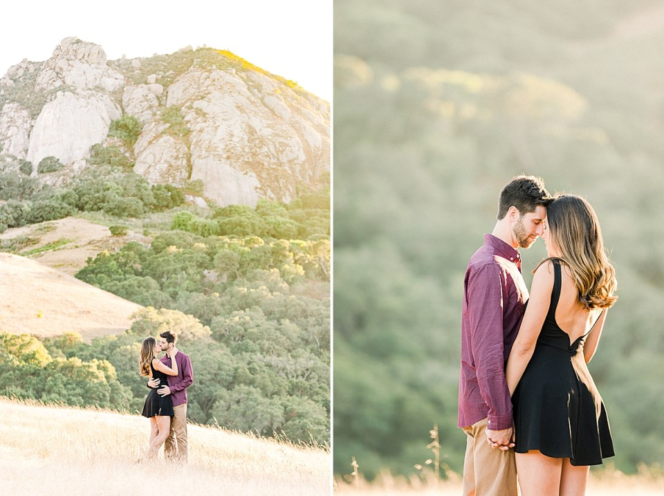 Kat & Brett touching foreheads and holding hands with their eyes closed during their San Luis Obispo Bishop's Peak engagement session.