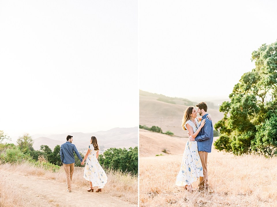 Brett is leading Kat along the path at the top of the valley. There are yellow rolling hills behind them. A second image of the couple standing close together as Kat's arms are wrapped around Brett's neck during their Bishop's Peak engagement session.