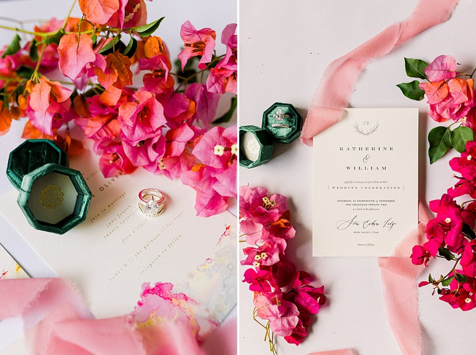 The couples Wedding Invitations surrounded by red and pink bougainvillea and light pink lace. A second image of an invitation with pink lace and a deep green ring box.