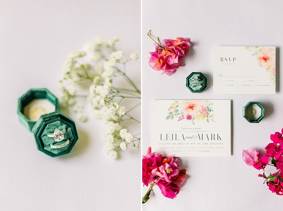 The green ring box with rings in it next to Baby's Breath. And a second image of the couple's Wedding Invitation and RSVP card surrounded by red and pink bougainvillea.