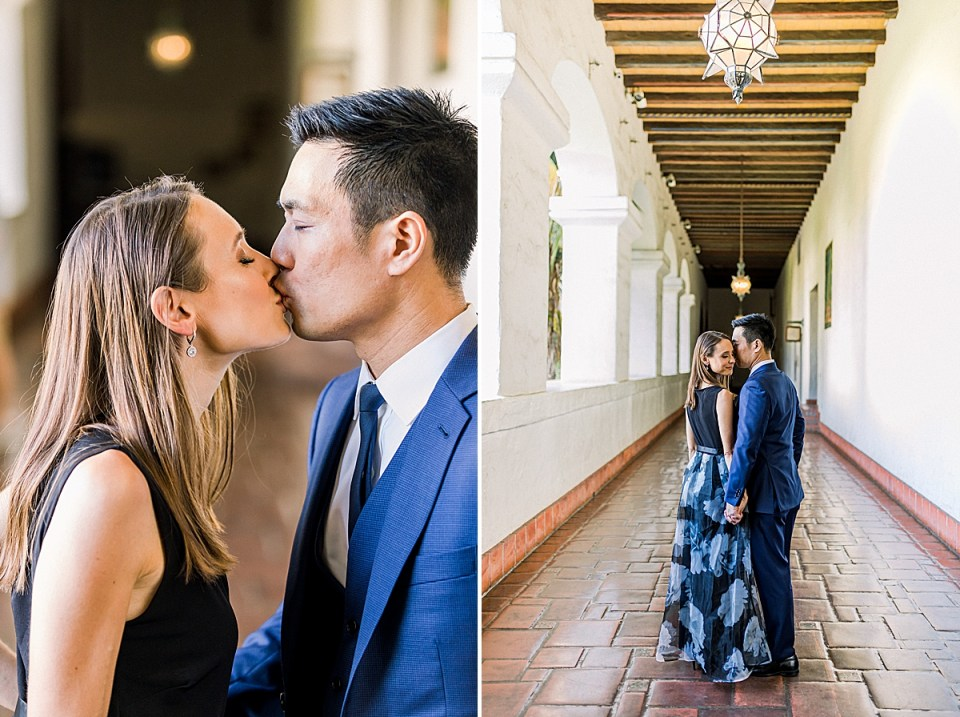 Erica & Gideon sharing a light kiss in the middle of the hallway. A second image Gideon leaning in close to Erica's head while she smiles at the camera.
