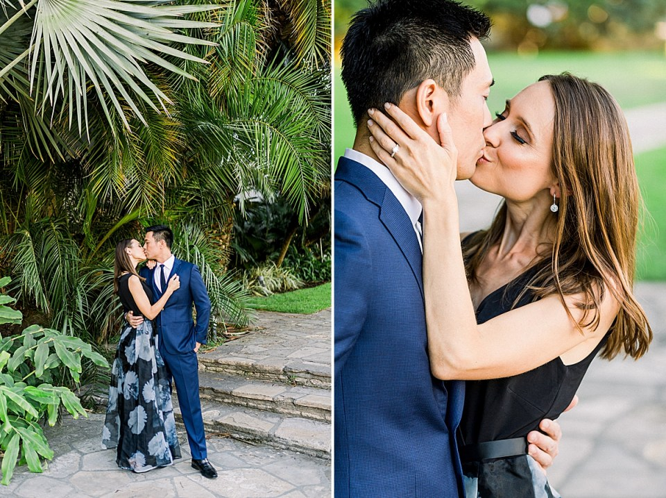 The couple sharing a kiss during their Santa Barbara Courthouse Engagement session