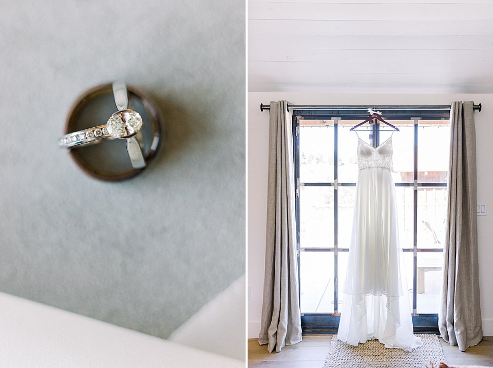 A close up image of the brides engagement ring and wedding band posed inside the groom's wedding band. A second image of the bride's dress hanging in a window.